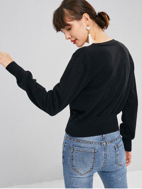 fancy Faux Pearl Button Cropped Cardigan - BLACK L Mobile
