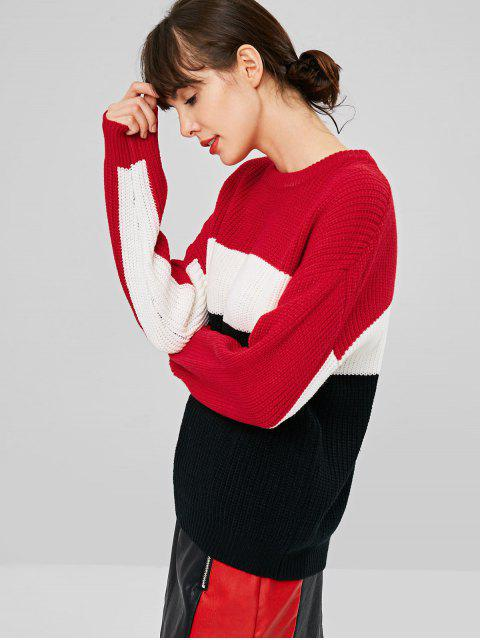 latest Color Block Chunky Knit Sweater - MULTI ONE SIZE Mobile