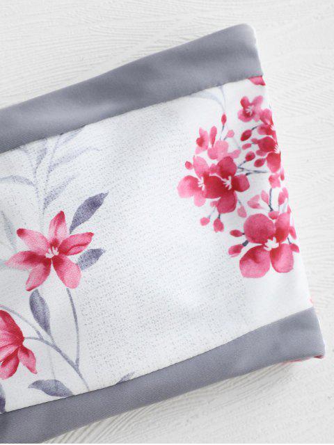 fancy Flower Color Block Bandeau Bikini Set - WHITE L Mobile