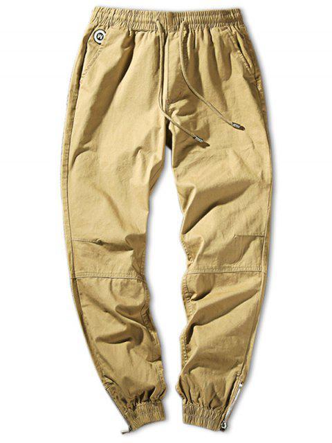 Pantalones Jogger con Cintura Ajustada en Cremallera de Color Sólido - Caqui Claro S Mobile
