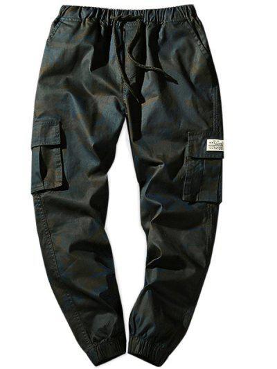 Bolsos de Flap de cintura de cordão Calças de Basculador de Camo - Xs Cinza Escuro