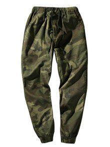 سروال مرونة الخصر التمويه - الجيش الأخضر Xs
