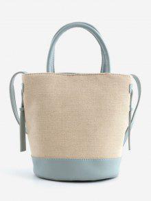 حقيبة يد لون متناقض قماش عارضة - أزرق