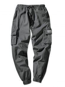 السراويل عداء ببطء لون خالص رفرف جيوب مرونة الخصر  - الرمادي الداكن Xs