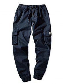 السراويل عداء ببطء لون خالص رفرف جيوب مرونة الخصر  - ازرق غامق S