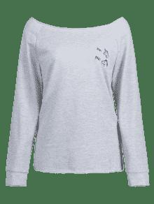 S Sleeve Nube Sweatshirt Raglan Gris Bordado OqpxwX