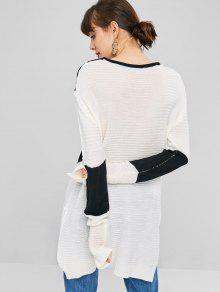Dos Side Negro Slit Tonos Sweater De 66tzwAq