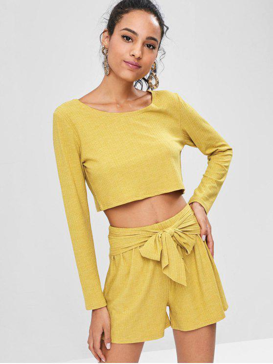chic Ribbed Crop Top and Shorts Co Ord Set - HARVEST YELLOW M