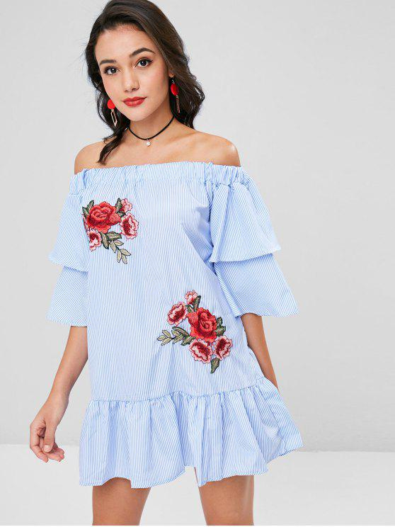 Applikationen Streifen Drop Taille Kleid - Himmelblau S