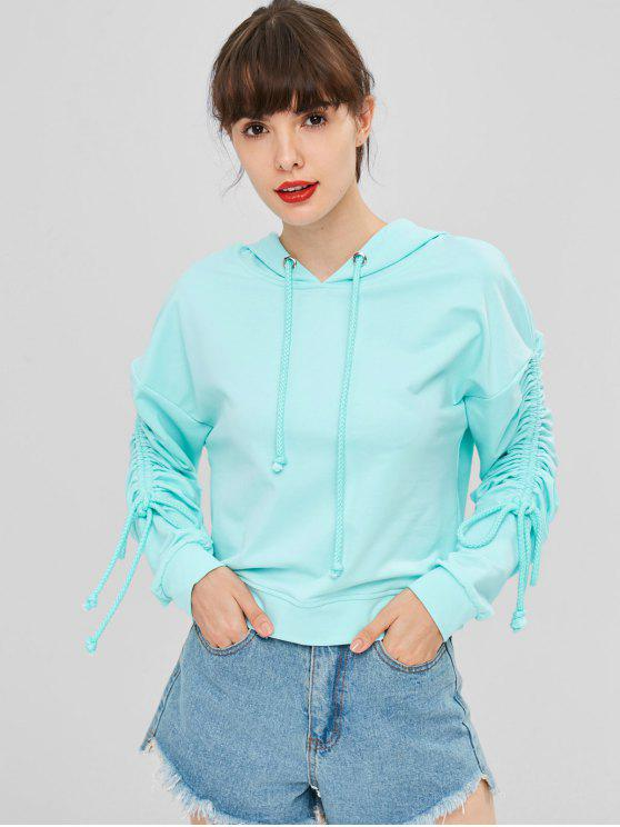 affordable Cinched Sleeves Drawstring Hoodie - ELECTRIC BLUE L