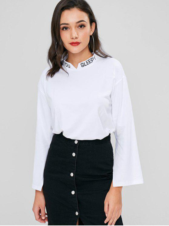 women's Letter Embroidered Notched Tee - WHITE L