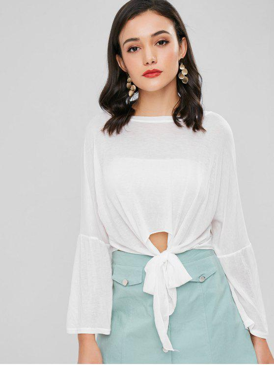 shops Semi Sheer Knotted Tee - WHITE ONE SIZE