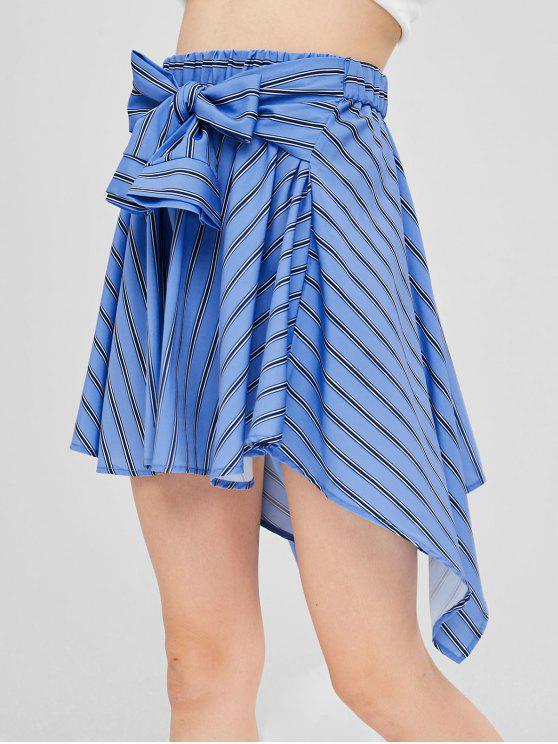 fashion Hanky Sleeve Tie Striped Mini Skater Skirt - SKY BLUE M