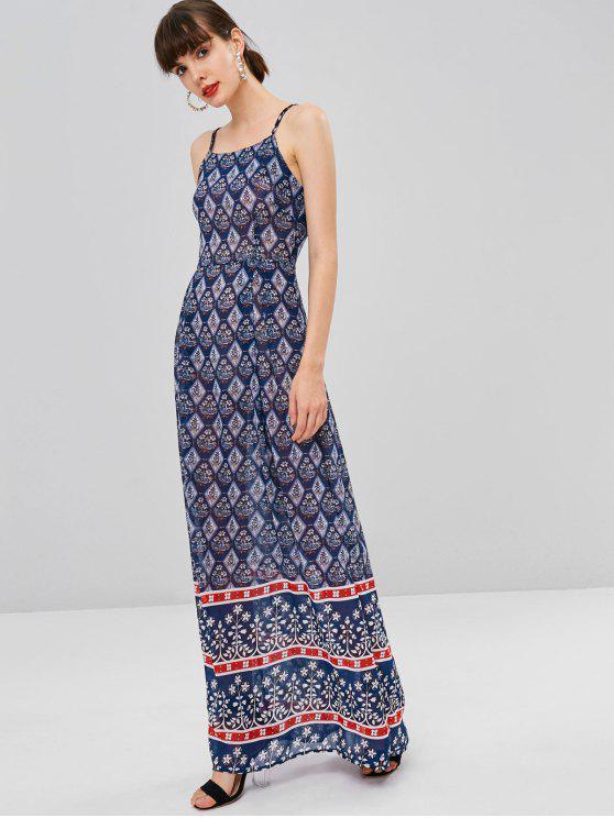 outfit Printed Bohemian Cami Dress - CADETBLUE S