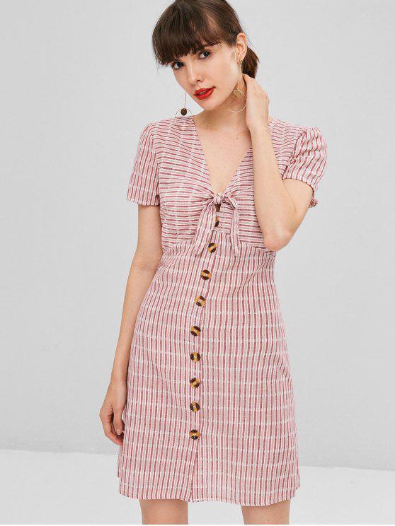 chic Knot Striped Button Up Shirt Dress - PIG PINK XL