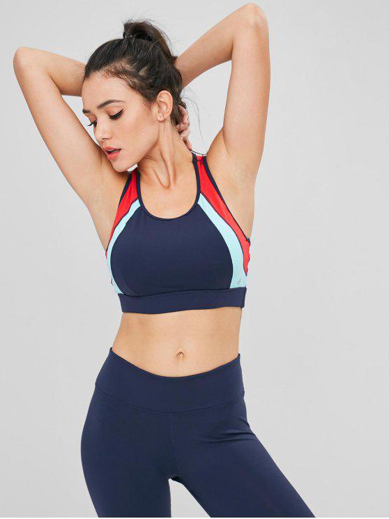 Color Block Cutout Racerback Sports Bra - Azul de Pizarra Oscuro L