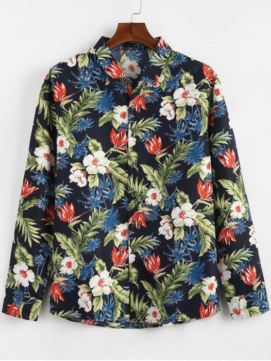 قميص النباتات الاستوائية المطبوعة عادية - البحريه الزرقاء XS