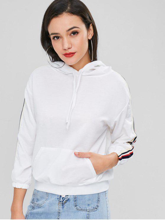 womens Side Striped Hoodie - WHITE L