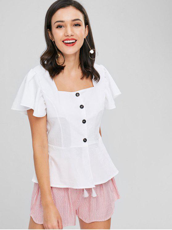 Rüschen Ärmel Knopf Oben Bluse - Weiß XL