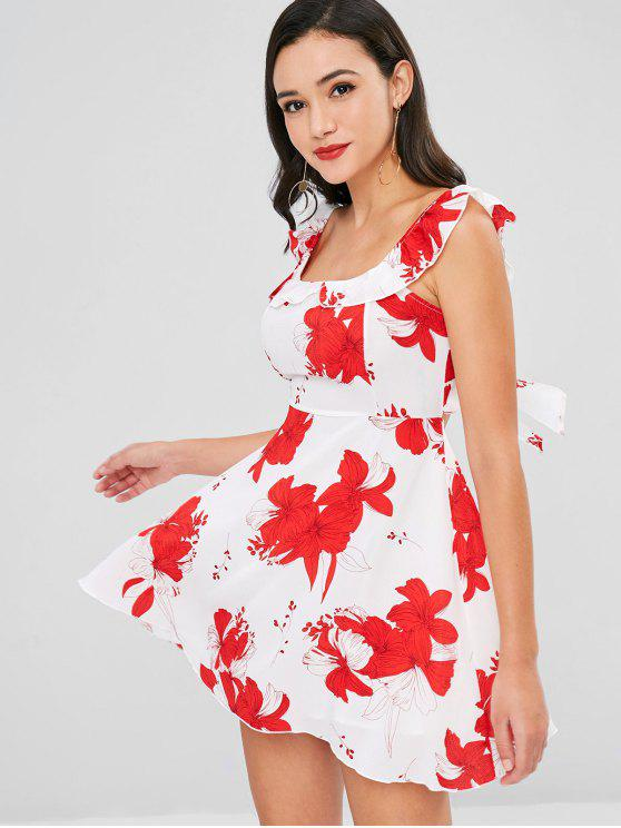 latest Floral Ruffle Open Back Dress - WHITE S