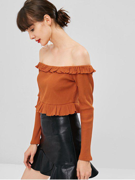 lady Ruffles Ribbed Off Shoulder Top - CHOCOLATE L
