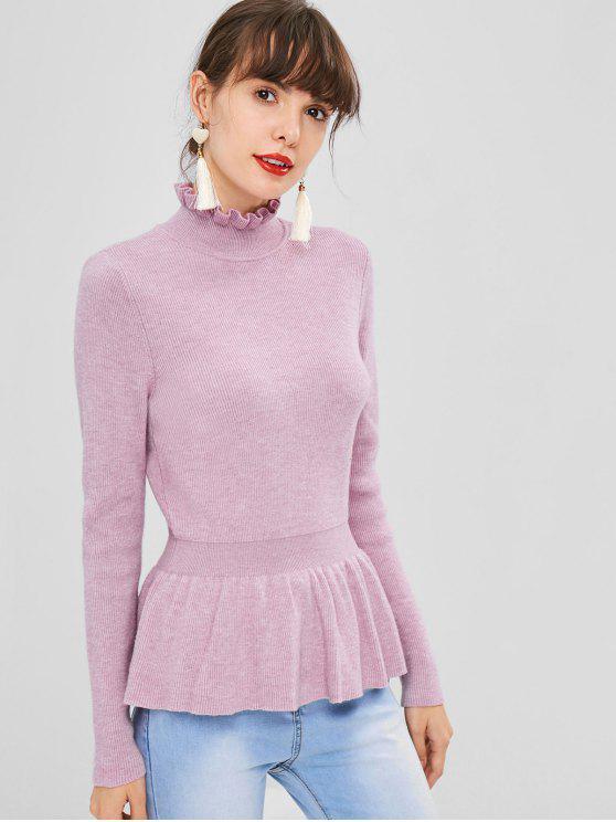 Weicher Hohe Kragen Peplum Pullover - Mauve L
