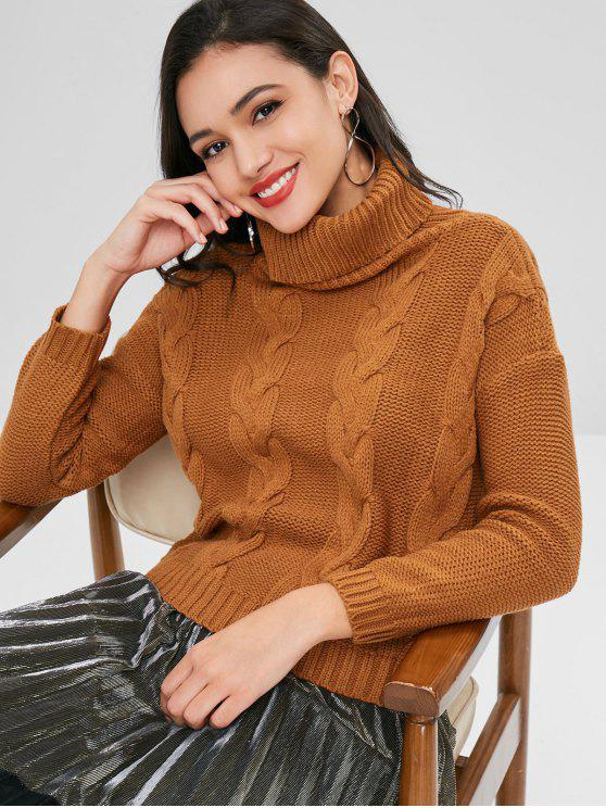 affordable Cable Knit Turtleneck Sweater - LIGHT BROWN ONE SIZE