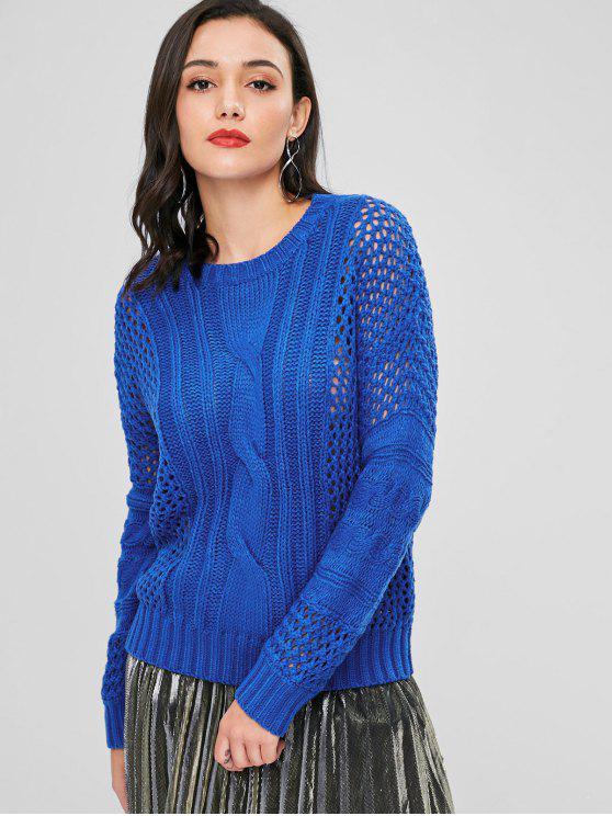 Durchbrochener Cable Strick Sweater - Blau Eine Größe