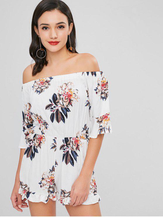 Floral fuera del hombro Romper - Blanco S