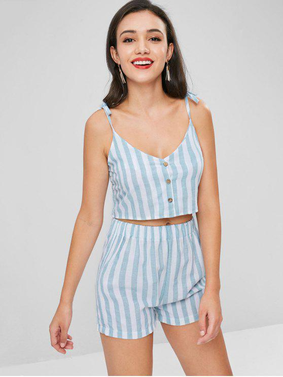 bda2bfea4c 24% OFF] 2019 Tie Smocked Striped Two Piece Set In PALE BLUE LILY ...