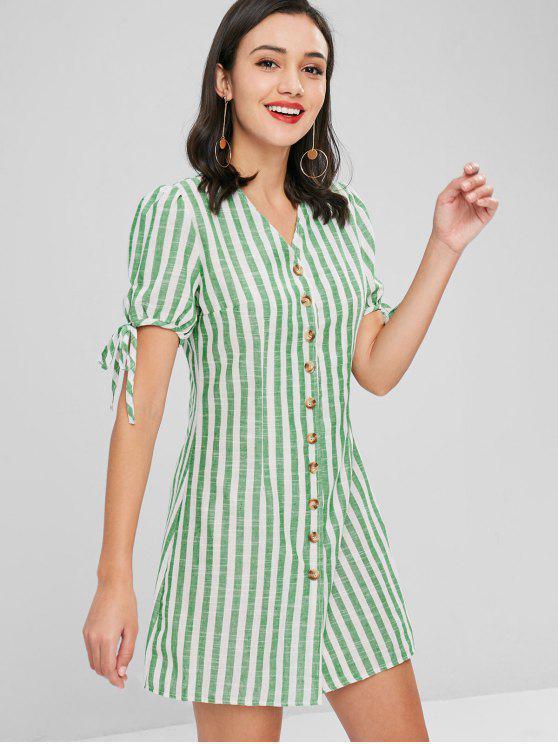 Robe Rayée avec Boutons - Vert Jaune S