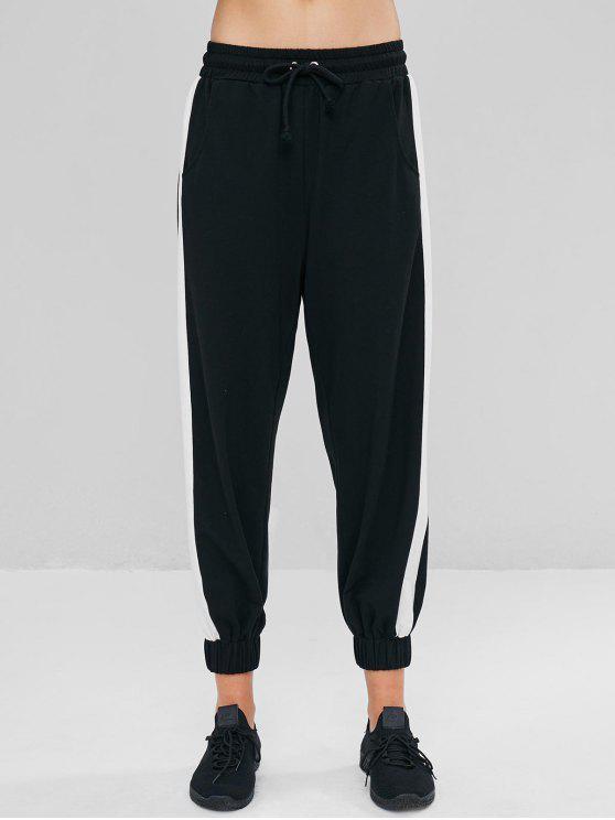 Pantalon Jogging à Taille Basse de Couleurs Contrastées - Noir L