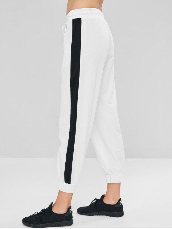 lady Low Waist Contrast Jogger Pants - WHITE M