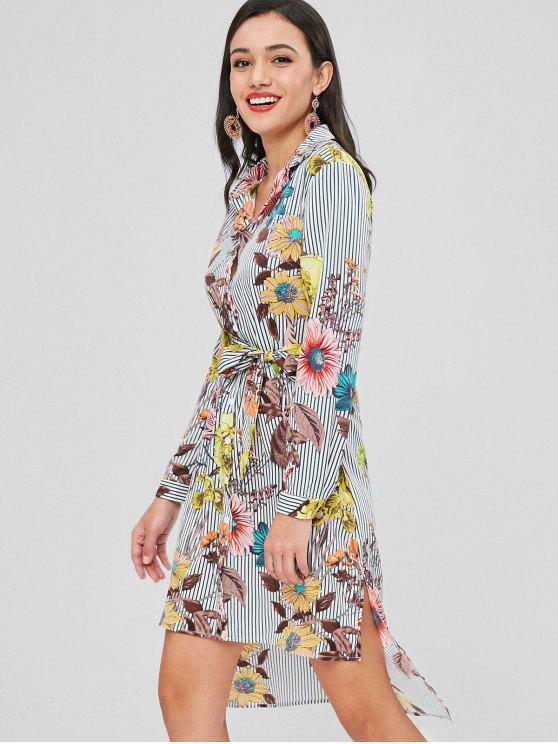 outfits High Low Stripes Floral Shirt Dress - MULTI S