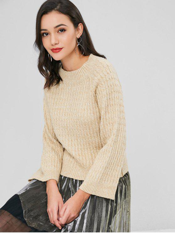 best Raglan Sleeve Cable Knit Sweater - CHAMPAGNE ONE SIZE