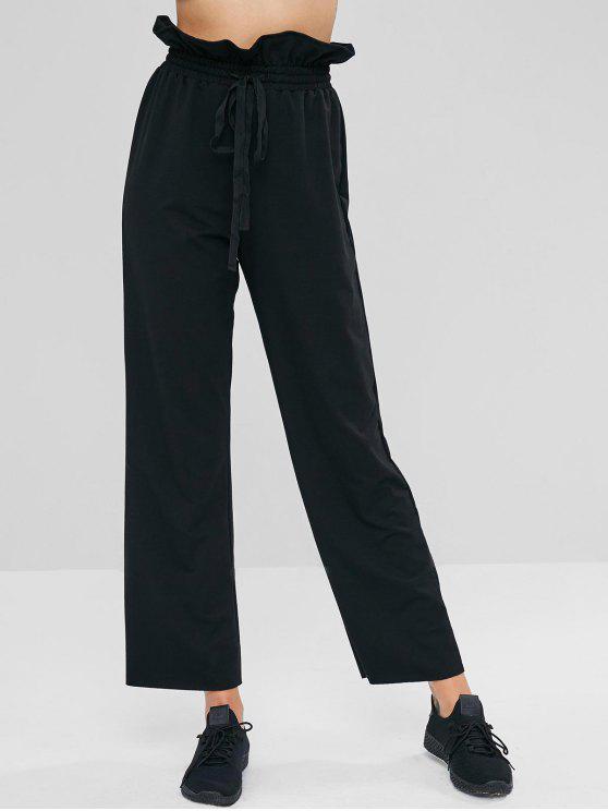 Pantalones de cintura alta de volantes - Negro L