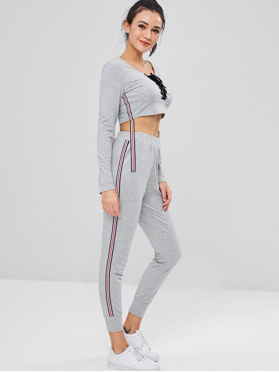 chic Crop Sweatshirt and Joggers Pants Sweat Suit - GRAY S