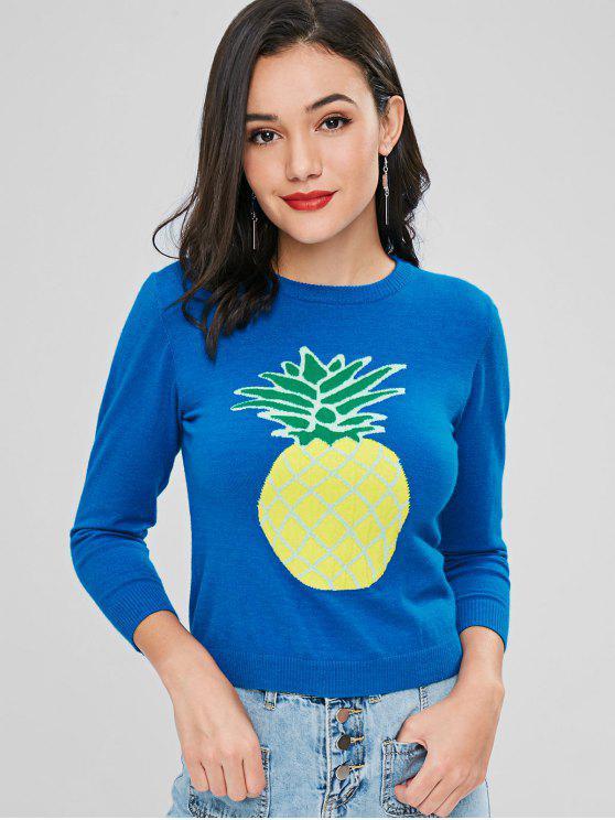 Rundhals Ananas Pullover - Kristal Blau L
