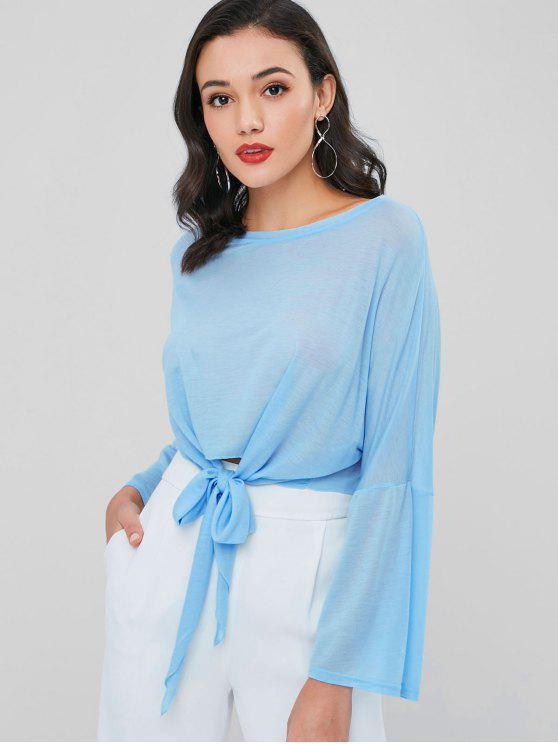 sale Semi Sheer Knotted Tee - SEA BLUE ONE SIZE