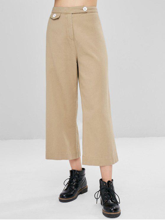 fashion Buttoned Wide Leg Ninth Pants - TAN S