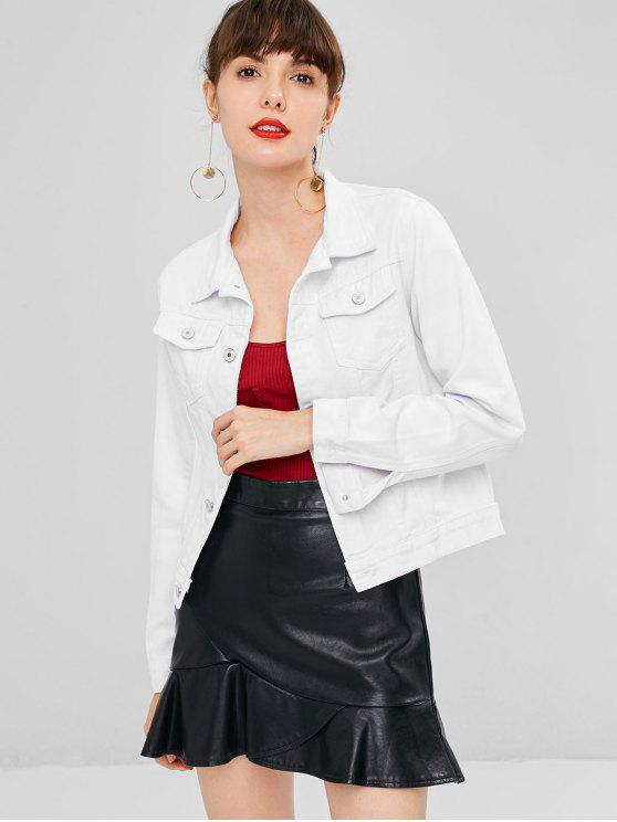 hot Button Up Pockets Denim Jacket - WHITE XL