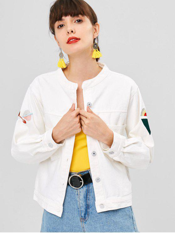 lady Button Up Embroidered Patched Denim Jacket - WHITE L