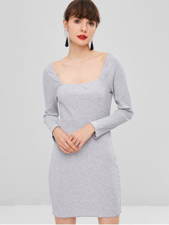 Quadratisches Ausschnitt Geripptes Kleid - Blaugrau S