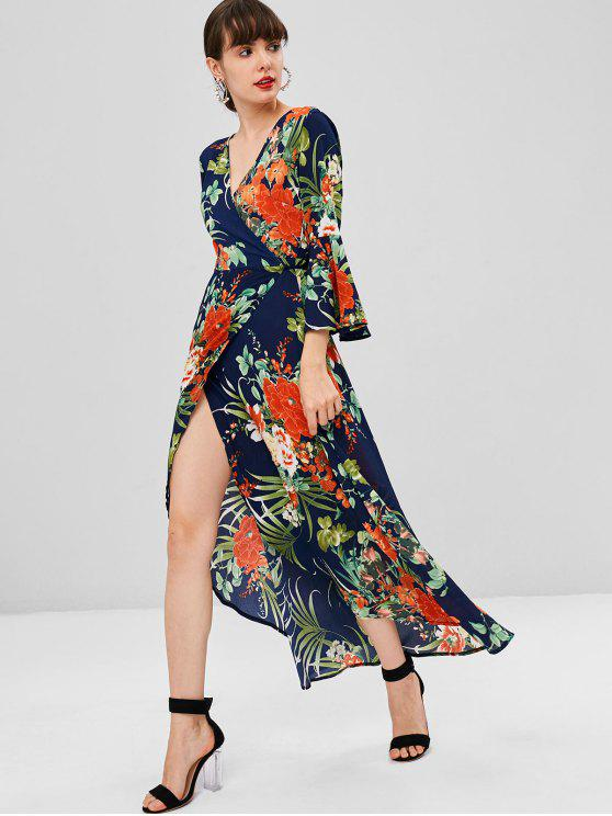 affordable Floral Bell Sleeve Maxi Wrap Dress - DEEP BLUE S