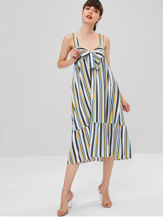hot Wide Strap Striped Midi Dress - MULTI L