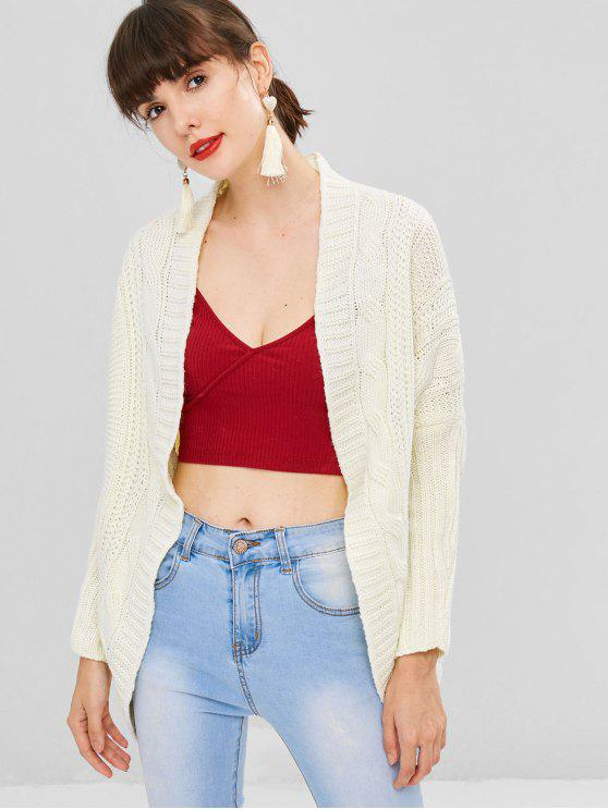 latest Dolman Sleeve Cable Knit Cardigan - WARM WHITE ONE SIZE