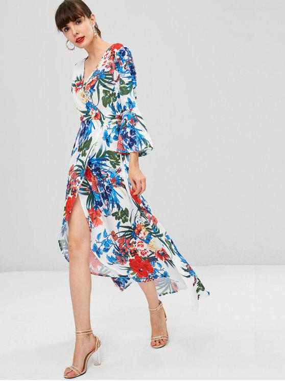 fancy Floral Print Bell Sleeve Wrap Dress - MULTI M