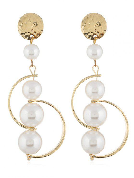 Lady Artificial Pearl Decoration Drop Earrings Gold