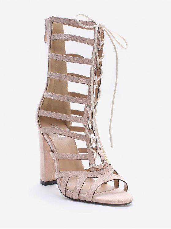 Lace Up évider Chic Sandales - Cerisier Rose 36