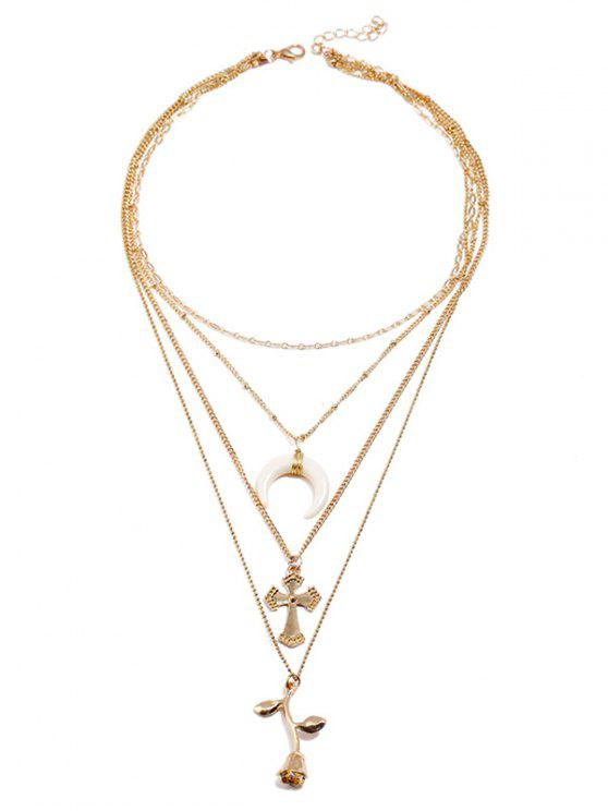 trendy Rose Flower Cross Crescent Moon Design Pendant Necklace - GOLD